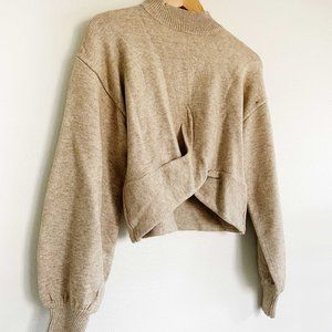 Cropped Twist Sweater With Balloon Sleeves